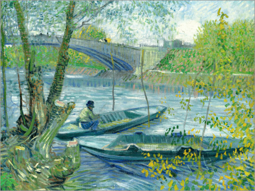 Premium poster Angler and boat at the Pont de Clichy