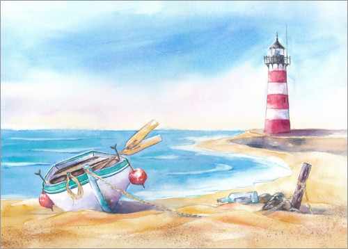 Premium poster Beach with lighthouse