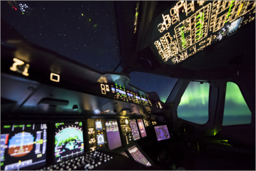 Premium poster Airbus A380 cockpit with polar lights
