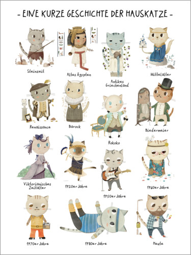 Premium poster A short story of the domestic cat (German)
