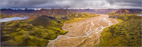 Premium poster River delta in the Icelandic highlands
