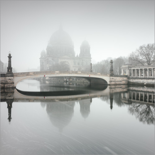 Premium poster Berlin Cathedral in the fog