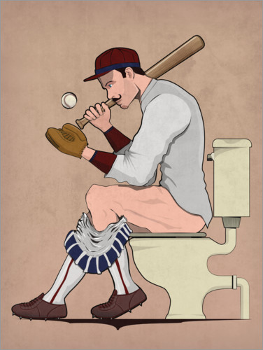 Premium poster Baseball player on the toilet