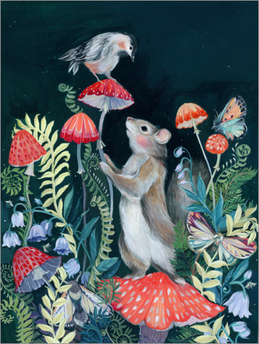 Premium poster Mouse and bird with mushrooms