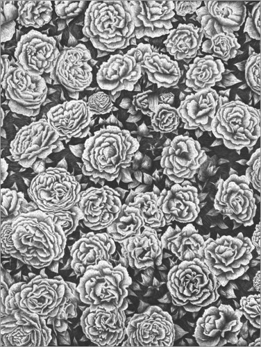 Premium poster Blooming garden in black and white