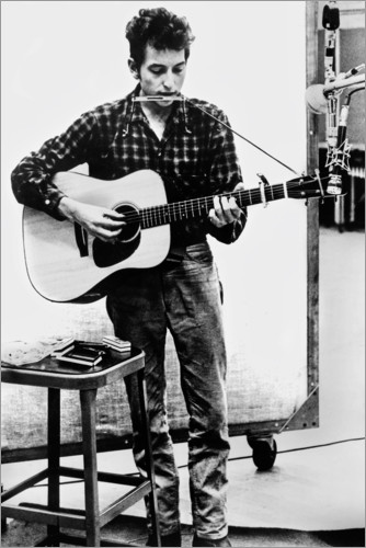 Premium poster Bob Dylan with harmonica and guitar