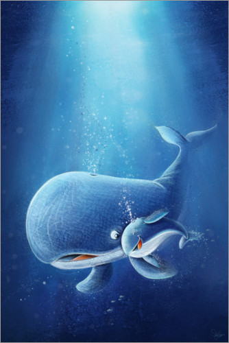 Premium poster Whale with her baby