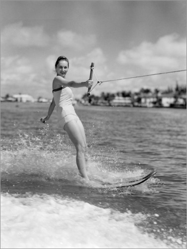 Premium poster Water skiing in the 50s