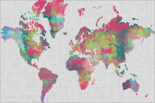 Premium poster Artistical Map of the World