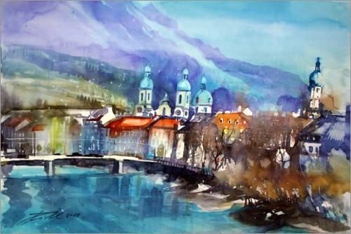 Premium poster View to the Inn Bridge and Innsbruck Cathedral