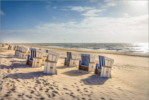 Premium poster Beach chairs in the sunset, Sylt