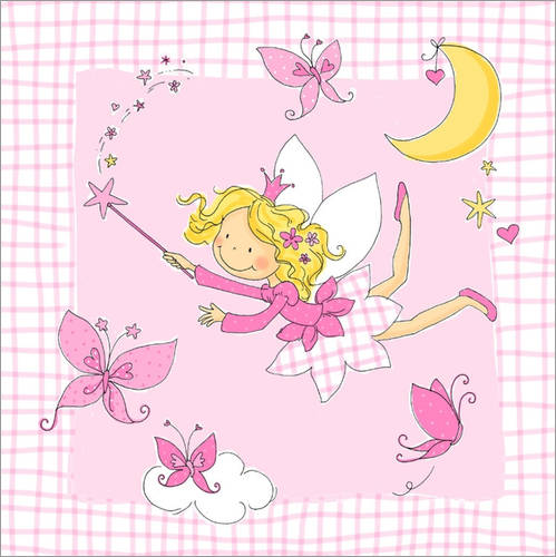 Wall sticker flying fairy with butterflies on checkered background