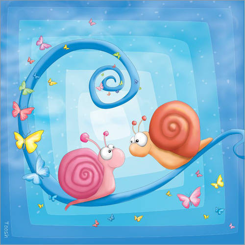 Wall sticker blue snails