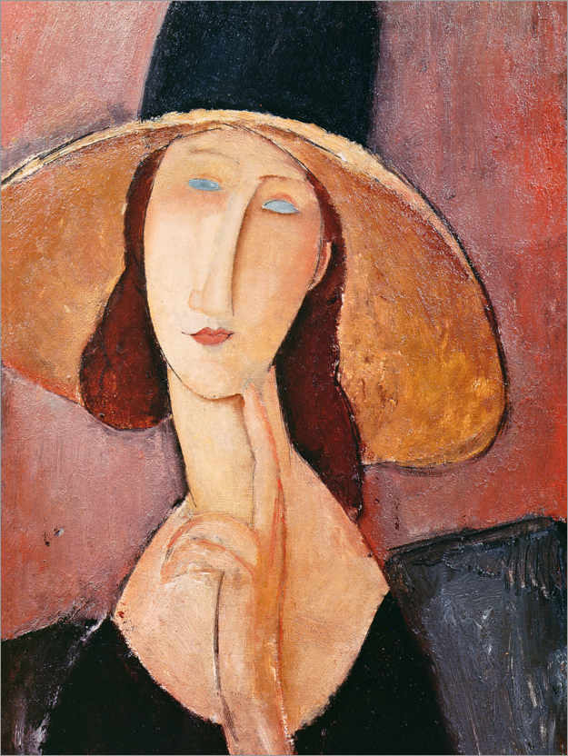 Premium poster Jeanne Hebuterne in a large hat