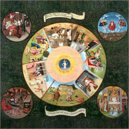 Canvas print  The Seven Deadly Sins and the Four Last Things - Hieronymus Bosch
