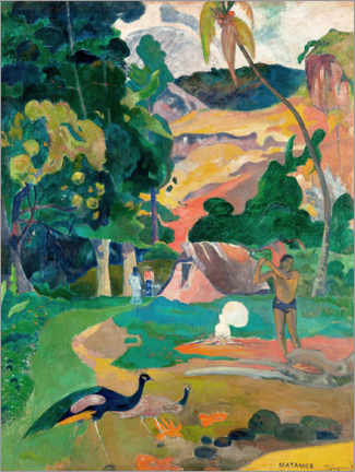 Aluminium print  Landscape with peacocks - Paul Gauguin