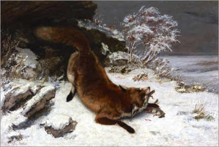 Foam board print  Fox in the snow - Gustave Courbet