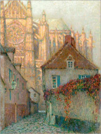Foam board print  Cathedral of Beauvais in the sunset - Henri Le Sidaner
