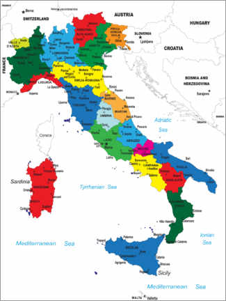 Canvas print  Italy - Political Map