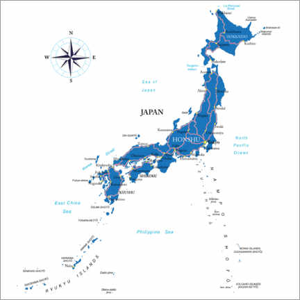 Canvas print  Map of Japan