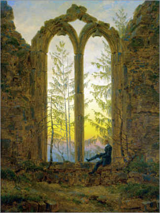 Wood print  The Dreamer - Caspar David Friedrich