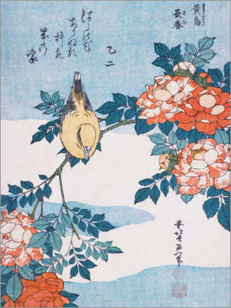 Wall sticker  Warbler and roses - Katsushika Hokusai