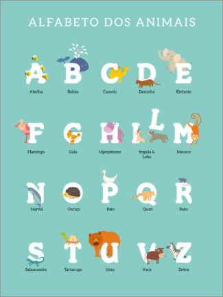 Aluminium print  Animal alphabet (portuguese) - Kidz Collection