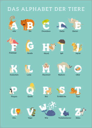 Aluminium print  Animal Alphabet (German) - Kidz Collection