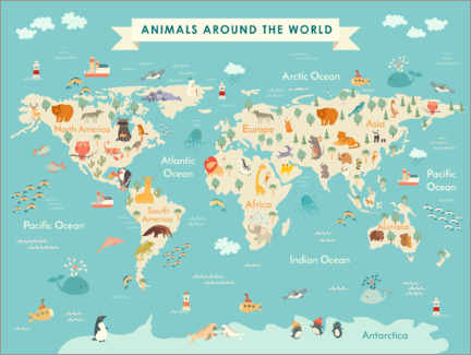 Canvas print  World map with animals (English) - Kidz Collection