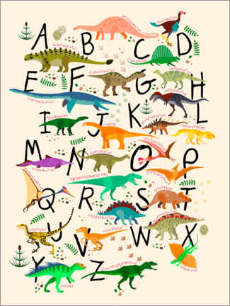 Aluminium print  Dino Alphabet - Kidz Collection