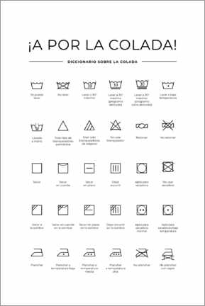 Canvas print  Washing and care symbols (Spanish)
