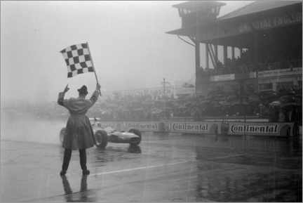 Canvas print  Jackie Stewart, chequered flag for victory at German GP 1968