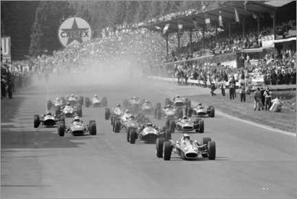 Canvas print  Jim Clark leads the field at the start, Belgian GP 1967