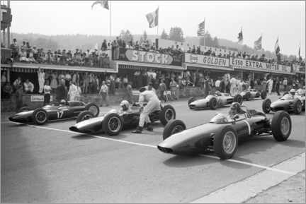 Canvas print  Graham Hill, Bruce McLaren and Trevor Taylor on the starting grid, 1962