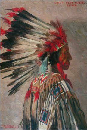 Canvas print  Chief Blue Horse, Sioux - Elbridge Ayer Burbank
