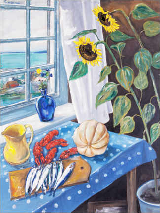 Premium poster  Still life with sunflowers and crayfish - Per Månsson