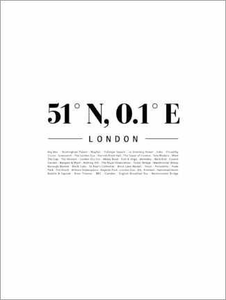 Acrylic print  Coordinates - London - Finlay and Noa