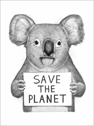 Premium poster  Koala, save the planet - Nikita Korenkov
