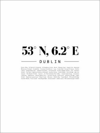 Canvas print  Coordinates - Dublin - Finlay and Noa