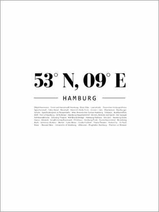 Wall sticker  Coordinates - Hamburg - Finlay and Noa