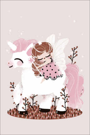 Wall sticker  The fairy and the unicorn - Kanzilue