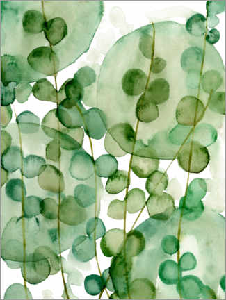 Aluminium print  Transparent watercolor leaves - Melissa Wang