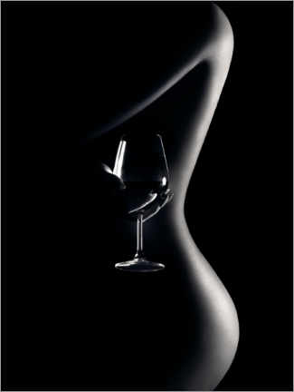 Acrylic print  Nude with wine glass - Johan Swanepoel