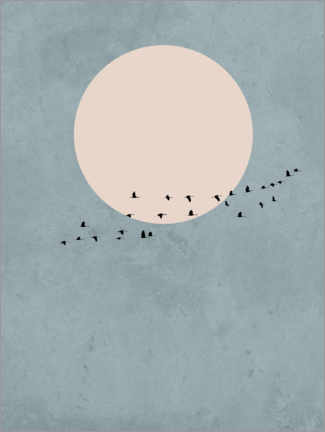 Aluminium print  Bird Migration to Full Moon - Finlay and Noa