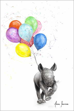 Foam board print  The Rhino with Balloons - Ashvin Harrison