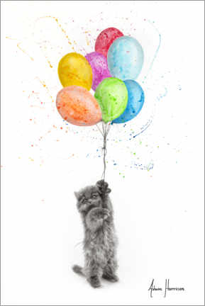 Premium poster The Naughty Kitten and The Balloons