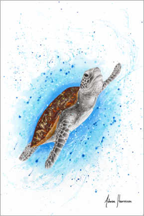 Premium poster  Happy Sea Turtle - Ashvin Harrison