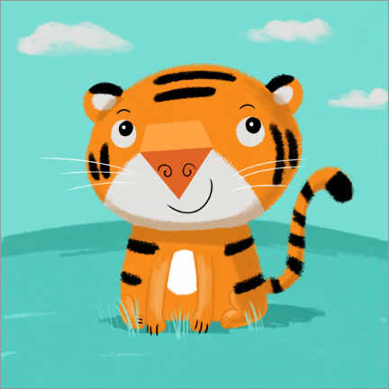 Wall sticker  Tiger thinks - Julia Reyelt