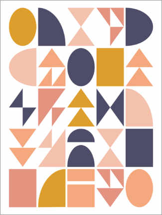 Wall sticker  Geometric Shapes - apricot and birch