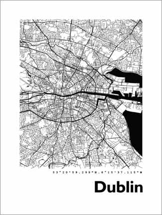 Canvas print  Dublin city map - 44spaces